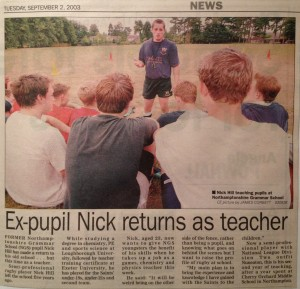 During my time at Loughborough University I went back once a week to coach at my old school...